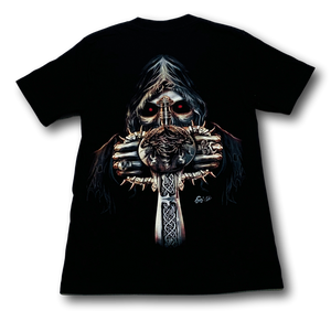 Skull holding Vertical Sword with Metal Nose Ring Glow in the Dark 4D Caballo T-Shirt
