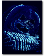 Load image into Gallery viewer, Skull with playing cards Glow in the Dark HD Rock Chang T-Shirt