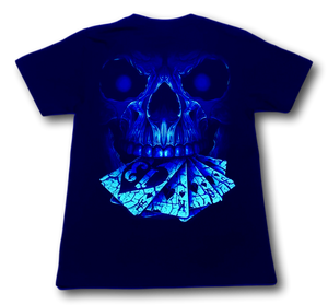 Skull with playing cards Glow in the Dark HD Rock Chang T-Shirt