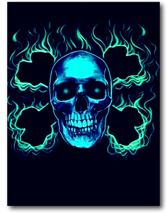 Flaming Skull with two Bones cross Glow in the Dark HD Hot Rock T-Shirt