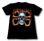 Load image into Gallery viewer, Flaming Skull with two Bones cross Glow in the Dark HD Hot Rock T-Shirt