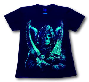 Skull holding Two Swords and Wings Glow in the Dark HD Hot Rock T-Shirt
