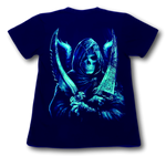Load image into Gallery viewer, Skull holding Two Swords and Wings Glow in the Dark HD Hot Rock T-Shirt