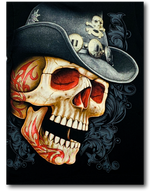 Load image into Gallery viewer, Skull with Cowboy Hat Glow in the Dark T-Shirt by Rock Eagle