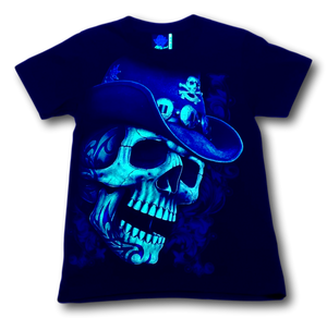 Skull with Cowboy Hat Glow in the Dark T-Shirt by Rock Eagle