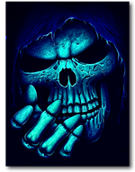 Load image into Gallery viewer, Skull head with grey scarf showing four fingers Glow in the Dark T-Shirt by Rock Eagle