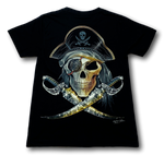 Load image into Gallery viewer, Pirate Skull with two swords and eye patch Glow in the Dark HD Rock Chang T-Shirt