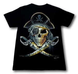 Pirate Skull with two swords and eye patch Glow in the Dark HD Rock Chang T-Shirt