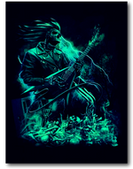 Load image into Gallery viewer, Skull with Electric Guitar and Flames Glow in the Dark HD Hot Rock T-Shirt