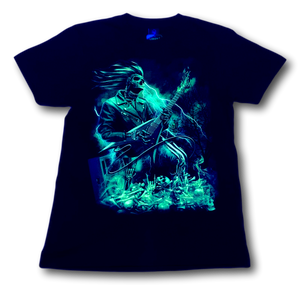 Skull with Electric Guitar and Flames Glow in the Dark HD Hot Rock T-Shirt