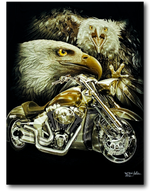 Load image into Gallery viewer, Two Eagles and Bike Glow in the Dark HD Rock Chang T-Shirt