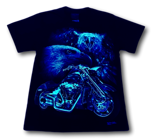 Two Eagles and Bike Glow in the Dark HD Rock Chang T-Shirt