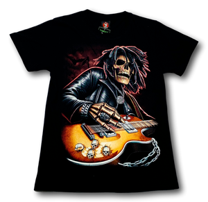 Rocking Skull with Classical Guitar Bob Marley Glow in the Dark HD Hot Rock T-Shirt