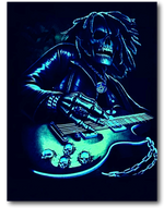Load image into Gallery viewer, Rocking Skull with Classical Guitar Bob Marley Glow in the Dark HD Hot Rock T-Shirt
