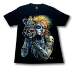 Load image into Gallery viewer, Tattoo Blonde Lady with Skull and Crown Glow in the Dark 4D Caballo T-Shirt