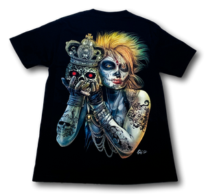 Tattoo Blonde Lady with Skull and Crown Glow in the Dark 4D Caballo T-Shirt