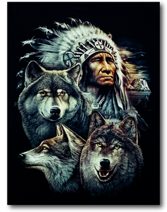 Native American Indian with Three Wolves Glow in the Dark HD Rock Chang T-Shirt