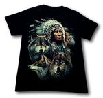 Load image into Gallery viewer, Native American Indian with Three Wolves Glow in the Dark HD Rock Chang T-Shirt