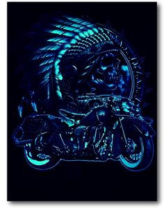 Native American with Classic Indian Bike Glow in the Dark HD Hot Rock T-Shirt