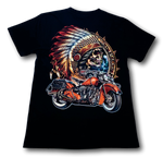 Load image into Gallery viewer, Native American with Classic Indian Bike Glow in the Dark HD Hot Rock T-Shirt