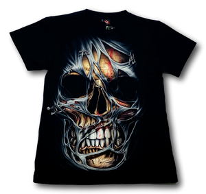Skull front face with Scarf Glow in the Dark HD Hot Rock T-Shirt