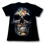 Load image into Gallery viewer, Skull front face with Scarf Glow in the Dark HD Hot Rock T-Shirt