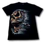 Load image into Gallery viewer, Skull side face with scarf Glow in the Dark HD Hot Rock T-Shirt