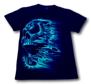 Skull side face with scarf Glow in the Dark HD Hot Rock T-Shirt