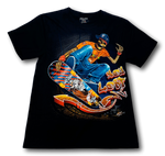 Load image into Gallery viewer, Skull on Funky Skateboard Blue Pants Glow in the Dark HD Rock Chang T-Shirt