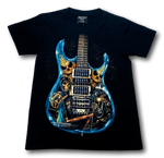 Load image into Gallery viewer, Electric Guitar Blue Glow in the Dark HD Rock Chang T-Shirt