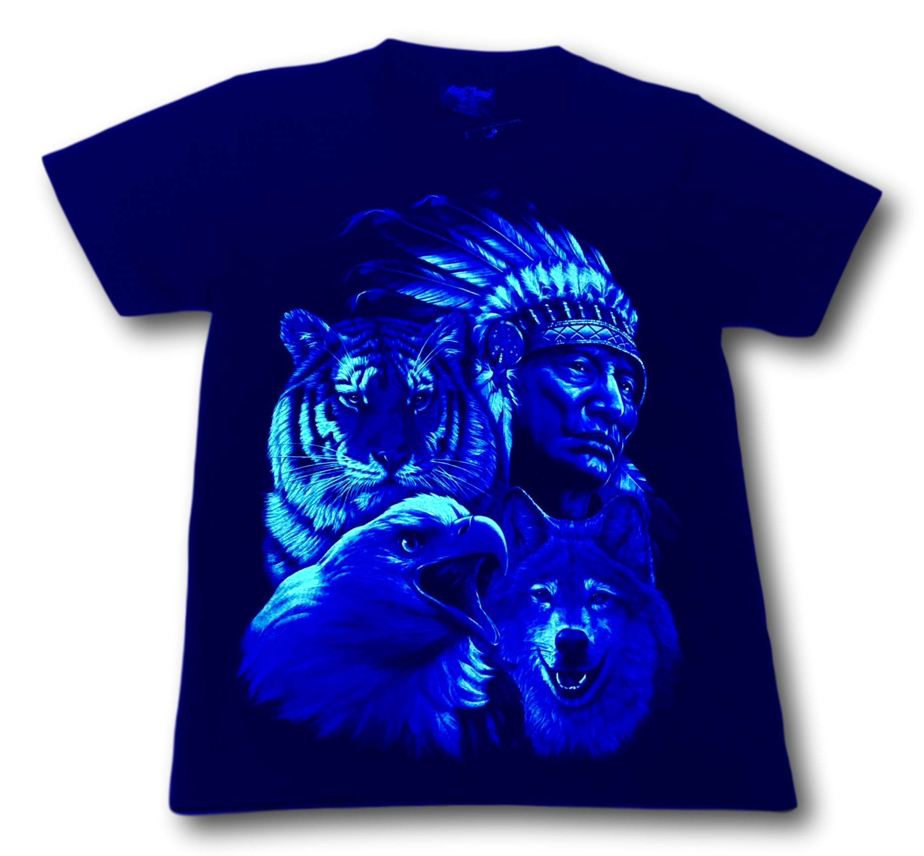 Native Indian with Tiger Eagle Wolf Glow in the Dark HD Rock Chang T-Shirt