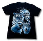 Load image into Gallery viewer, Native Indian with Tiger Eagle Wolf Glow in the Dark HD Rock Chang T-Shirt