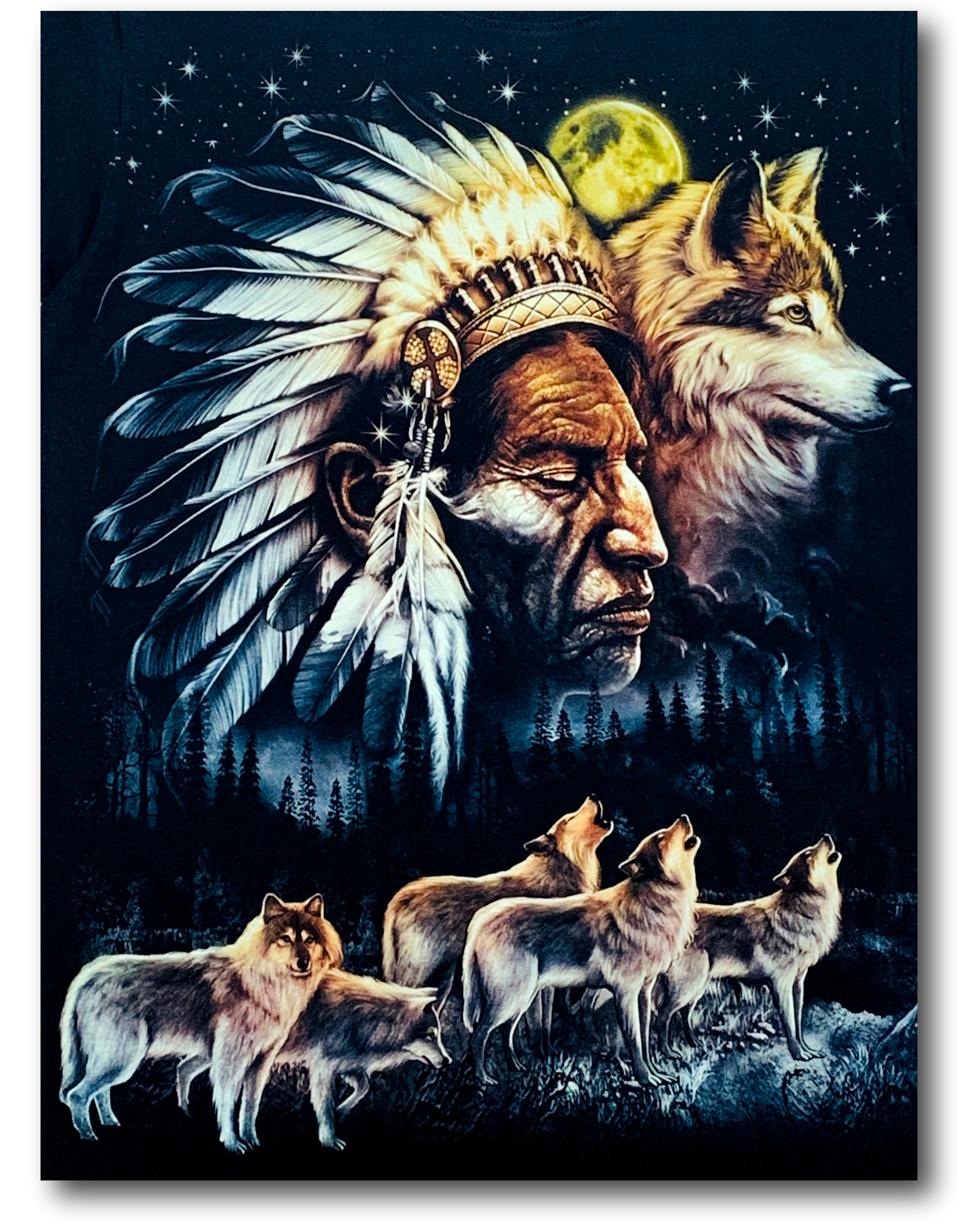 Native Indian Moon and Wolf Glow in the Dark HD Rock Chang T-Shirt