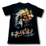 Load image into Gallery viewer, Native Indian Moon and Wolf Glow in the Dark HD Rock Chang T-Shirt