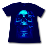 Load image into Gallery viewer, Skull Head with Bats Glow in the Dark HD Hot Rock T-Shirt