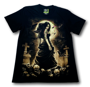 Tatoo Lady in Robe and Skulls Glow in the Dark HD Rock Eagle T-Shirt