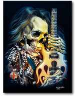 Load image into Gallery viewer, Skull with Long Hair and Guitar Glow in Dark HD Rock Chang T-Shirt
