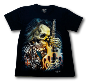 Skull with Long Hair and Guitar Glow in Dark HD Rock Chang T-Shirt