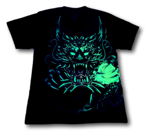 Flaming Dragon with Skull Wrap Around Glow in Dark HD Rock Chang T-Shirt