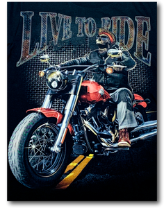 Biker Skull Live to Ride Glow in the Dark HD Hot Rock T-Shirt