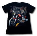 Load image into Gallery viewer, Biker Skull Live to Ride Glow in the Dark HD Hot Rock T-Shirt