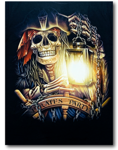 Pirate Skull Party Holding Lamp Glow in Dark HD Rock Chang T-Shirt
