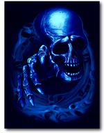 Load image into Gallery viewer, Grey Skull with Hand and four fingers Glow in the Dark HD Rock Eagle T-Shirt