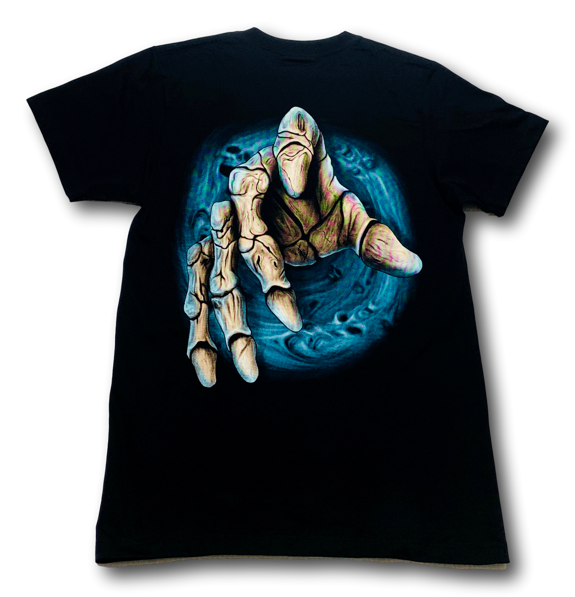 Grey Skull with Hand and four fingers Glow in the Dark HD Rock Eagle T-Shirt