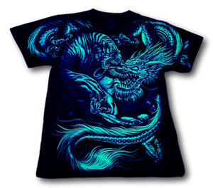 Tiger and Mythical Dragon Glow in Dark HD Rock Chang T-Shirt
