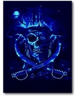 Load image into Gallery viewer, Pirate Skull with Eye Patch Glow in Dark HD Rock Chang T-Shirt
