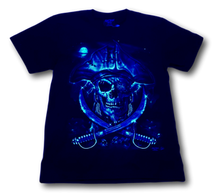 Pirate Skull with Eye Patch Glow in Dark HD Rock Chang T-Shirt