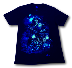 Pirate Skull with Treasure and Bones Glow in the Dark 4D Caballo T-Shirt