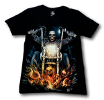 Load image into Gallery viewer, Skull on Flaming Bike Glow in the Dark 4D Caballo T-Shirt