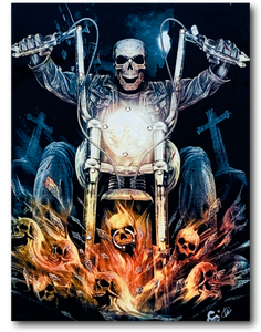 Skull on Flaming Bike Glow in the Dark 4D Caballo T-Shirt